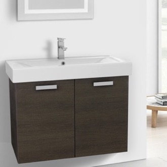 Bathroom Vanity 32 Inch Grey Oak Wall Mount Bathroom Vanity with Fitted Ceramic Sink ACF C147