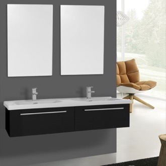 Bathroom Vanity 56 Inch Glossy Black Wall Double Bathroom Vanity Set, 2 Drawers, Mirror Included Iotti FN96