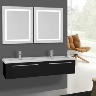 Bathroom Vanity 56 Inch Glossy Black Bathroom Vanity, Wall Mounted, Lighted Mirror Included Iotti FN383
