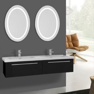 Bathroom Vanity 56 Inch Glossy Black Bathroom Vanity, Wall Mounted, Lighted Mirror Included Iotti FN384