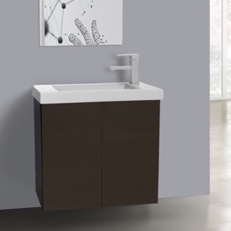 Bathroom Vanity 2 Doors Vanity Cabinet in Wenge with Self Rimming Sink Iotti HD01C-Wenge