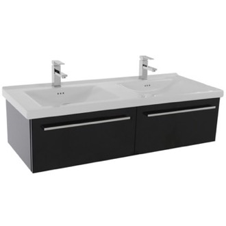 Bathroom Vanity 48 Inch Glossy Black Wall Double Bathroom Vanity Set, 2 Drawers Iotti FN26