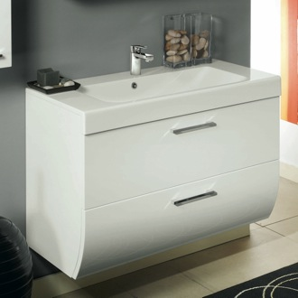 Bathroom Vanity 2 Drawers Vanity Cabinet with Self Rimming Sink Iotti NN1C