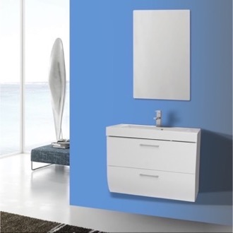 Bathroom Vanity 30 Inch Wall Mount Glossy White Bathroom Vanity Set Iotti NN42