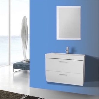 Bathroom Vanity 30 Inch Wall Mount Glossy White Bathroom Vanity Set Iotti NN45