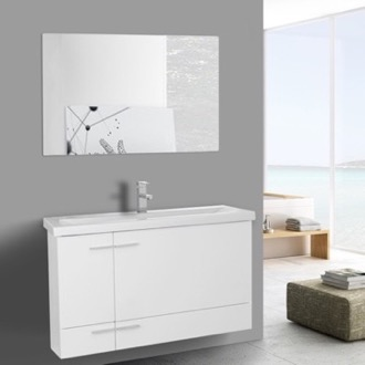 Bathroom Vanity 39 Inch Glossy White Wall Mounted Vanity with Ceramic Sink, Mirror Included Iotti NS33