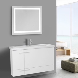 Bathroom Vanity 39 Inch Glossy White Bathroom Vanity, Wall Mounted, Lighted Mirror Included Iotti NS392