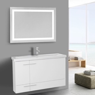Bathroom Vanity 39 Inch Glossy White Bathroom Vanity, Wall Mounted, Lighted Mirror Included Iotti NS393