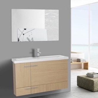 Bathroom Vanity 39 Inch Natural Oak Wall Mounted Vanity with Ceramic Sink, Mirror Included Iotti NS37