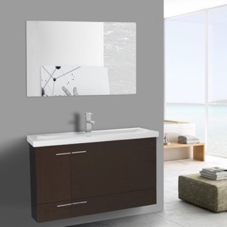 Bathroom Vanity 39 Inch Wenge Wall Mounted Vanity with Ceramic Sink, Mirror Included Iotti NS34