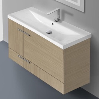 Bathroom Vanity 39 Inch Natural Oak Wall Mounted Vanity with Ceramic Sink Iotti NS22