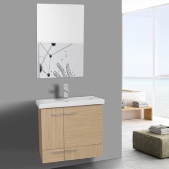Bathroom Vanity 24 Inch Natural Oak Wall Mounted Vanity with Ceramic Sink, Mirror Included Iotti NS27
