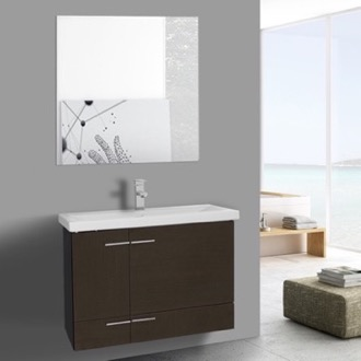 Bathroom Vanity 32 Inch Wenge Wall Mounted Vanity with Ceramic Sink, Mirror Included Iotti NS29