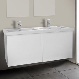 Bathroom Vanity 47 Inch Glossy White Double Bathroom Vanity With Ceramic  Sink Iotti SE26