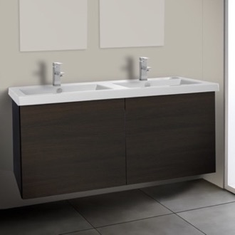 Bathroom Vanity 47 Inch Vanity Cabinet with Double Fitted Sink Iotti SE06C-Wenge