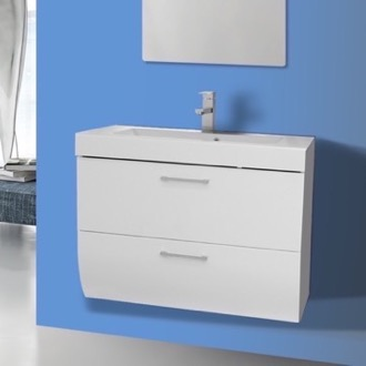Bathroom Vanity 30 Inch Wall Mount Glossy White Bathroom Vanity Cabinet with Sink Iotti WC01