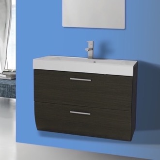 Bathroom Vanity 30 Inch Wall Mount Grey Oak Bathroom Vanity Cabinet with Sink Iotti WC04