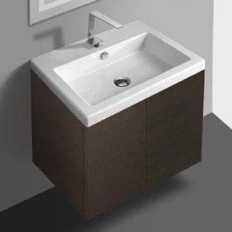 Bathroom Vanity Wenge Vanity Cabinet with Self Rimming Sink and 2 Doors Iotti SE01C-Wenge