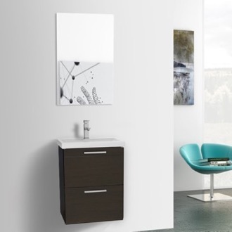 Bathroom Vanity 19 Inch Small Wenge Wall Mounted Bathroom Vanity with Fitted Sink, Mirror Included Iotti LN311