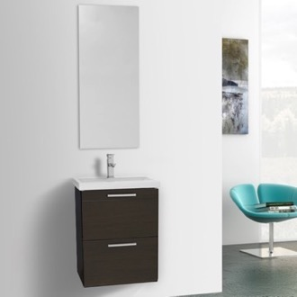 Bathroom Vanity 19 Inch Small Wenge Wall Mounted Bathroom Vanity with Fitted Sink, Mirror Included Iotti LN312