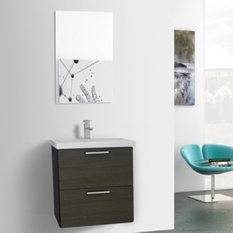 Bathroom Vanity 23 Inch Grey Oak Wall Mounted Vanity with Fitted Sink, Mirror Included Iotti LN91
