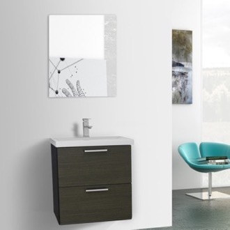 Bathroom Vanity 23 Inch Grey Oak Wall Mounted Vanity with Fitted Sink, Mirror Included Iotti LN315