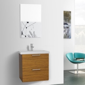 Bathroom Vanity 23 Inch Teak Wall Mounted Vanity with Fitted Sink, Mirror Included Iotti LN92
