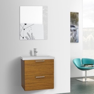 Bathroom Vanity 23 Inch Teak Wall Mounted Vanity with Fitted Sink, Mirror Included Iotti LN321