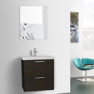 Bathroom Vanity 23 Inch Wenge Wall Mounted Vanity with Fitted Sink, Mirror Included Iotti LN324