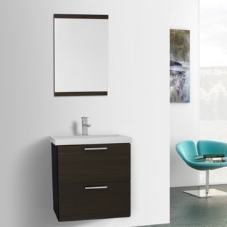 Bathroom Vanity 23 Inch Wenge Wall Mounted Vanity with Fitted Sink, Mirror Included Iotti LN106