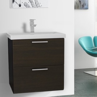 Bathroom Vanity 23 Inch Wenge Wall Mounted Vanity with Fitted Sink Iotti LN26
