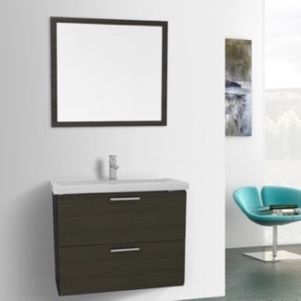 Bathroom Vanity 30 Inch Grey Oak Wall Mounted Vanity with Fitted Sink, Medicine Cabinet Included Iotti LN119