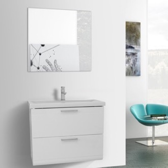 Bathroom Vanity 30 Inch Glossy White Wall Mounted Vanity with Fitted Sink, Mirror Included Iotti LN85