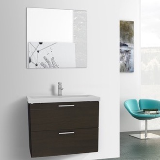 Bathroom Vanity 30 Inch Wenge Wall Mounted Vanity with Fitted Sink, Mirror Included Iotti LN86