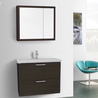 Bathroom Vanity 30 Inch Wenge Wall Mounted Vanity with Fitted Sink, Medicine Cabinet Included Iotti LN102