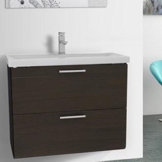 Bathroom Vanity 30 Inch Wenge Wall Mounted Vanity with Fitted Sink Iotti LN22