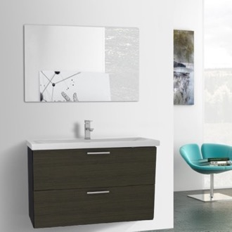 Bathroom Vanity 38 Inch Grey Oak Bathroom Vanity, Wall Mounted, Mirror Included Iotti LN95