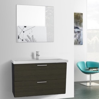Bathroom Vanity 38 Inch Grey Oak Bathroom Vanity, Wall Mounted, Mirror Included Iotti LN337
