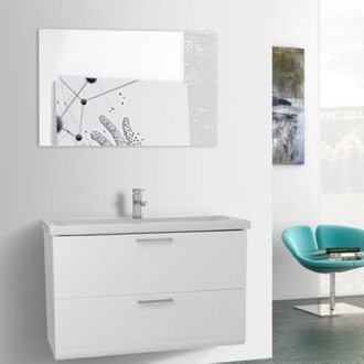 Bathroom Vanity 38 Inch Glossy White Wall Mounted Vanity with Fitted Sink, Mirror Included Iotti LN93