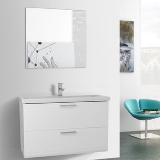 Bathroom Vanity 38 Inch Glossy White Wall Mounted Vanity with Fitted Sink, Mirror Included Iotti LN338