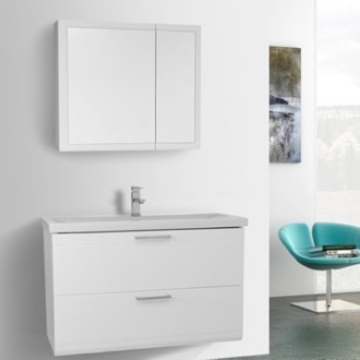 Bathroom Vanity 38 Inch Glossy White Wall Mounted Vanity with Fitted Sink, Medicine Cabinet Included Iotti LN125