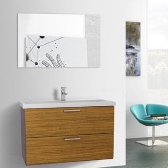 Bathroom Vanity 38 Inch Teak Wall Mounted Vanity with Fitted Sink, Mirror Included Iotti LN96