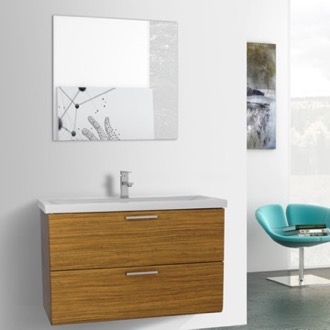 Bathroom Vanity 38 Inch Teak Wall Mounted Vanity with Fitted Sink, Mirror Included Iotti LN339