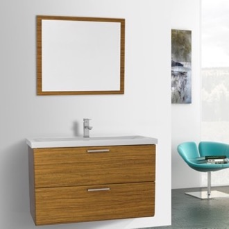 Bathroom Vanity 38 Inch Teak Wall Mounted Vanity with Fitted Sink, Mirror Included Iotti LN112