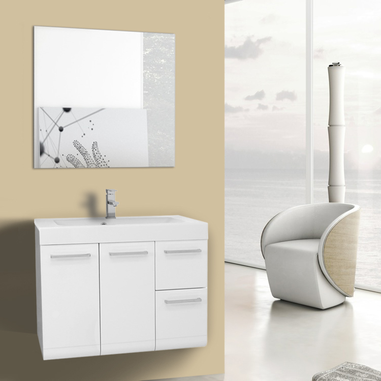 Bathroom Vanity 30 Inch Glossy White Wall Mounted Vanity with Ceramic Sink, Mirror Included Iotti MC25