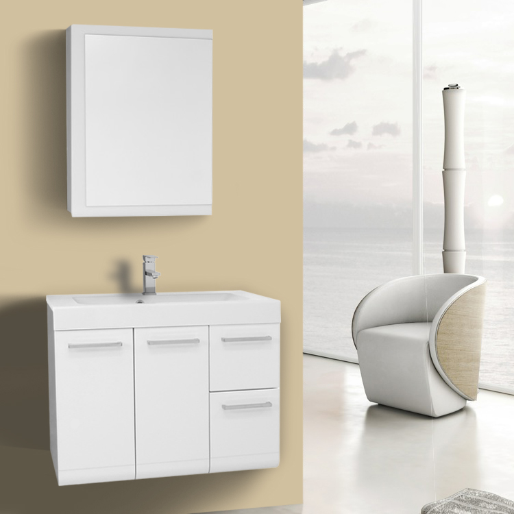 Bathroom Vanity 30 Inch Glossy White Wall Mounted Vanity with Ceramic Sink, Medicine Cabinet Included Iotti MC37