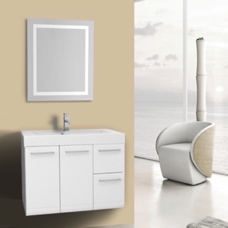 Bathroom Vanity 30 Inch Glossy White Bathroom Vanity, Wall Mounted, Lighted Mirror Included Iotti MC157