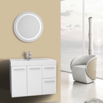 Bathroom Vanity 30 Inch Glossy White Bathroom Vanity, Wall Mounted, Lighted Mirror Included Iotti MC158