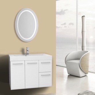 Bathroom Vanity 30 Inch Glossy White Bathroom Vanity, Wall Mounted, Lighted Mirror Included Iotti MC159