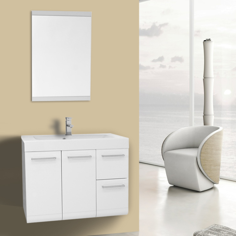 Bathroom Vanity 30 Inch Glossy White Wall Mounted Vanity with Ceramic Sink, Mirror Included Iotti MC31